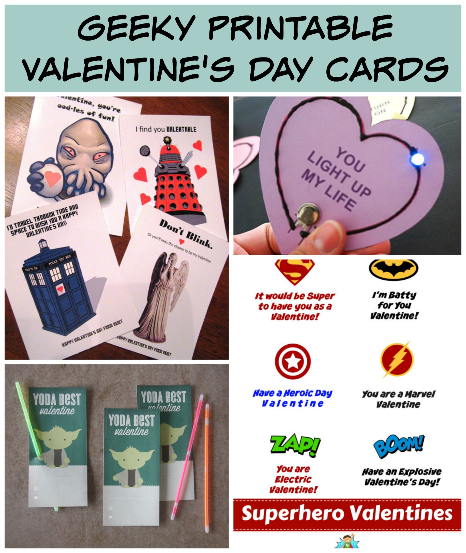 free printables for geeky valentines day cards