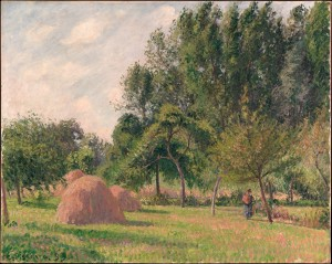 Camille Pissarro (French, Charlotte Amalie, Saint Thomas 1830–1903 Paris) Haystacks, Morning, Éragny, 1899 Oil on canvas; 25 x 31 1/2 in. (63.5 x 80 cm) The Metropolitan Museum of Art, New York, Bequest of Douglas Dillon, 2003